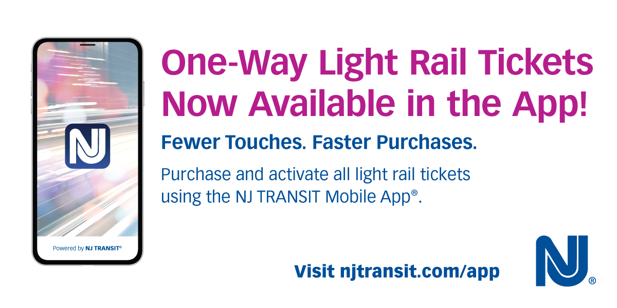 NJ TRANSIT now offers daily light rail tickets in the NJ TRANSIT app. This new enhancement puts light rail customers on par with bus and rail, with contactless purchase for one-way, child, and senior/discount tickets in addition to monthly passes.