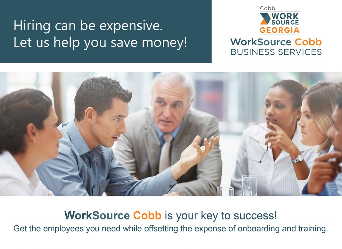 #WorkSource #Cobb Business Services is your key to training new hires. You pick the candidates. We pay for the cost of training them! Ready to find out more? Click the link below for more details!     #recruitment #workforcedevelopment #newhires