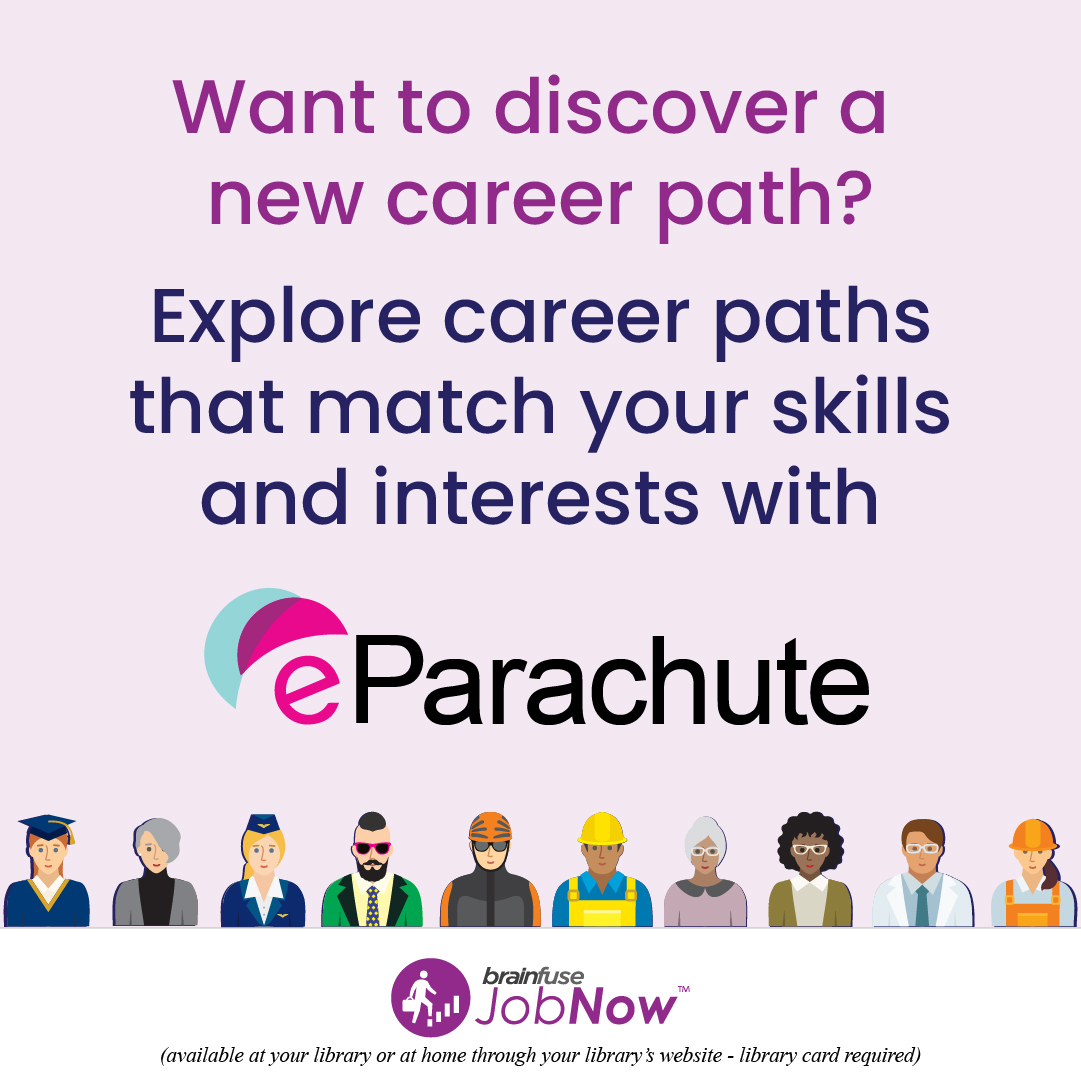 Looking for a new job? Take a career assessment with eParachute to discover career paths that match your skills and interest.  Use JobNow from Brainfuse for free with your JPL card! ➡️   #jolietlibrary