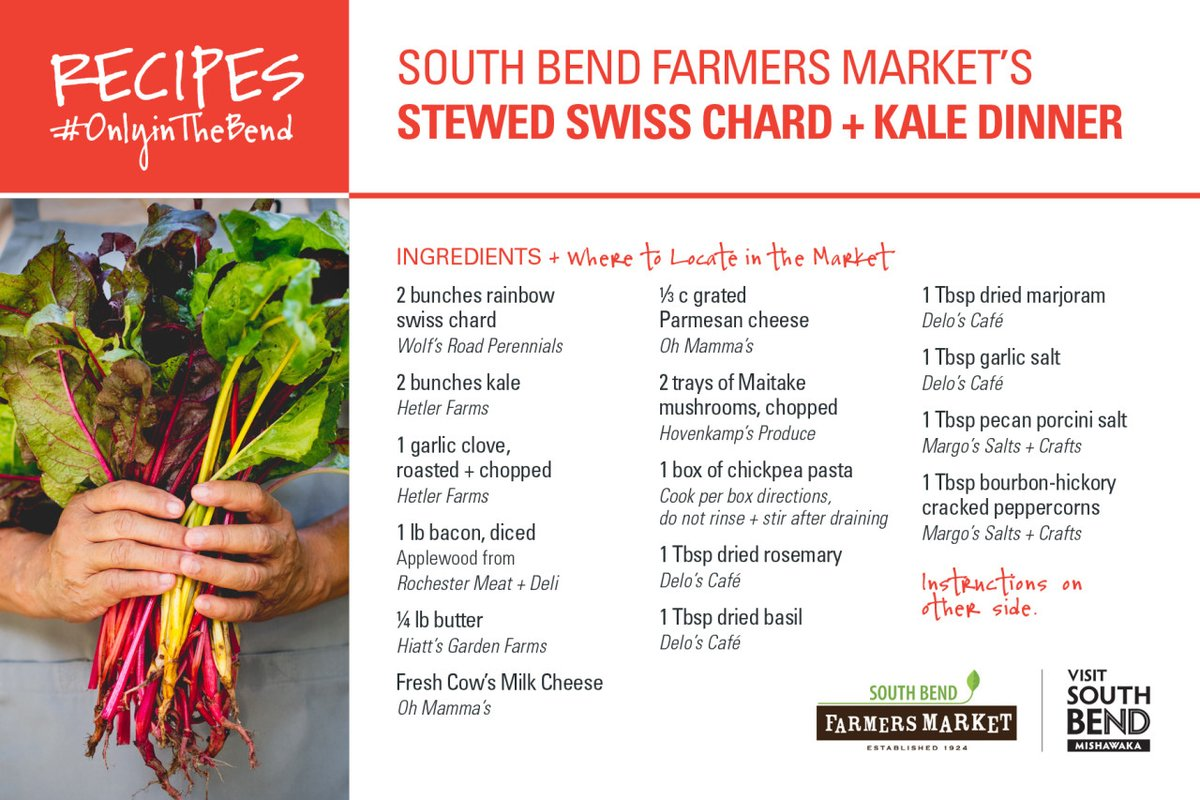 Healthy, organic, local — this stewed Swiss chard + kale dinner recipe from South Bend Farmers Market has everything. Including where to find all the ingredients in the market.🥬🍽  More #OnlyinTheBend recipes➡️