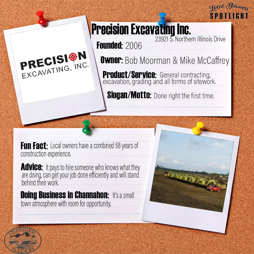 This week's Local Business Spotlight is Precision Excavating Inc.!  Click here to learn more about the business and the services provided to the community:   Know of a Channahon business that should be featured in an upcoming spotlight? Let us know!