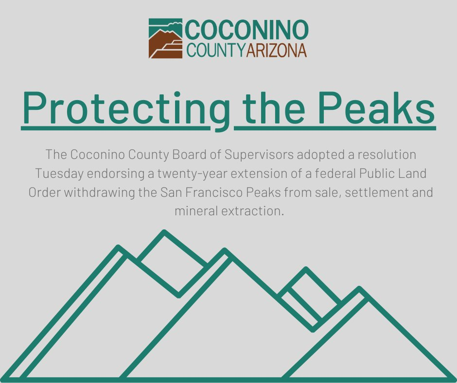 Coconino County took action to protect the San Francisco Peaks. Full details can be found here
