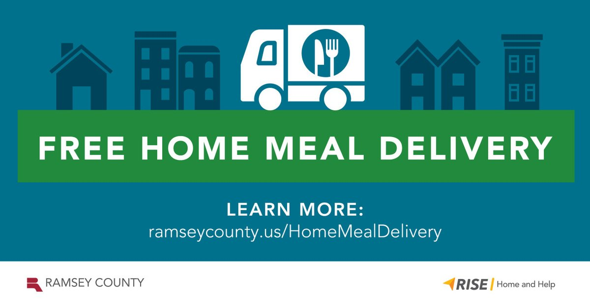 If you are a Ramsey County resident and have been impacted by the COVID-19 pandemic, you may be eligible to have prepared meals delivered to your home for free.   Learn more about eligibility and providers: