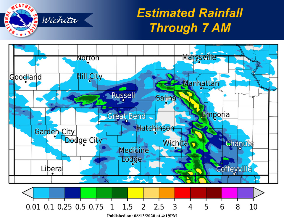 Rainfall totals through 7 AM. The highest amounts were observed across portions of the Flint Hills where 1-2 inches were reported. #kswx