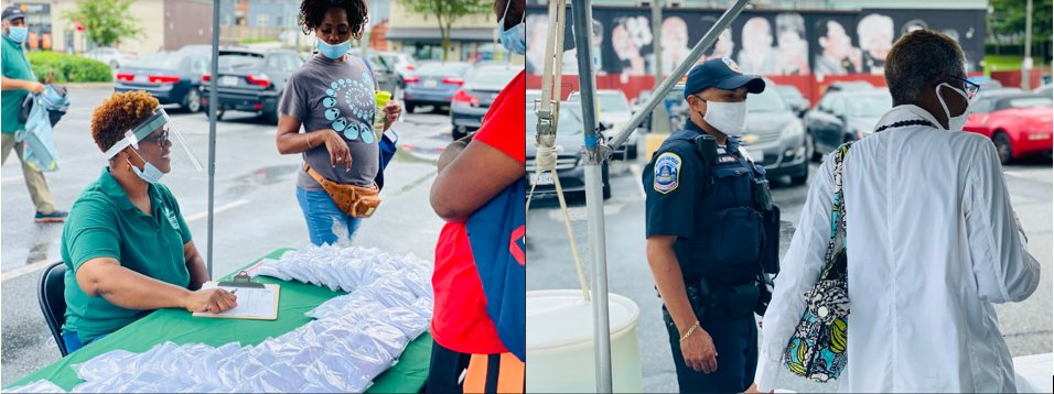 Today, East River Family Strengthening Collaborative (ERFSC) & 6D Outreach hosted a community pop-up event in the Minnesota Ave. Safeway parking lot. Participants were provided resources from vendors, giveaways, PPE, school supplies and food catered by a local vendor.