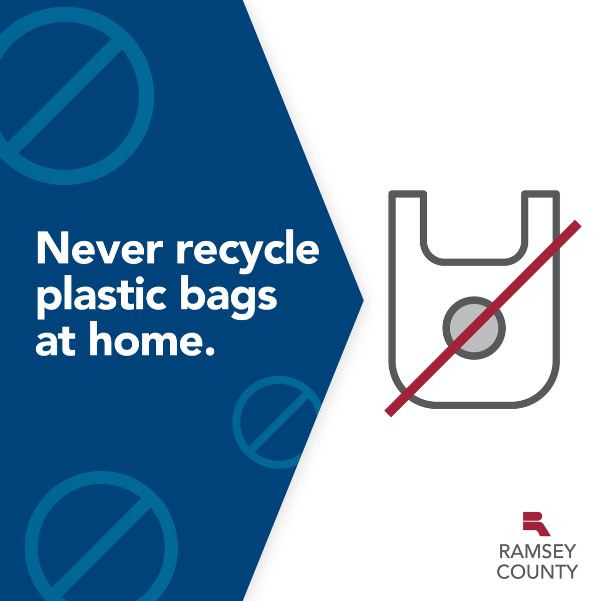 Please do not place plastic bags or plastic film in your recycling cart. They cannot be recycled in curbside and must be returned to participating drop-off locations such as retail stores for recycling: