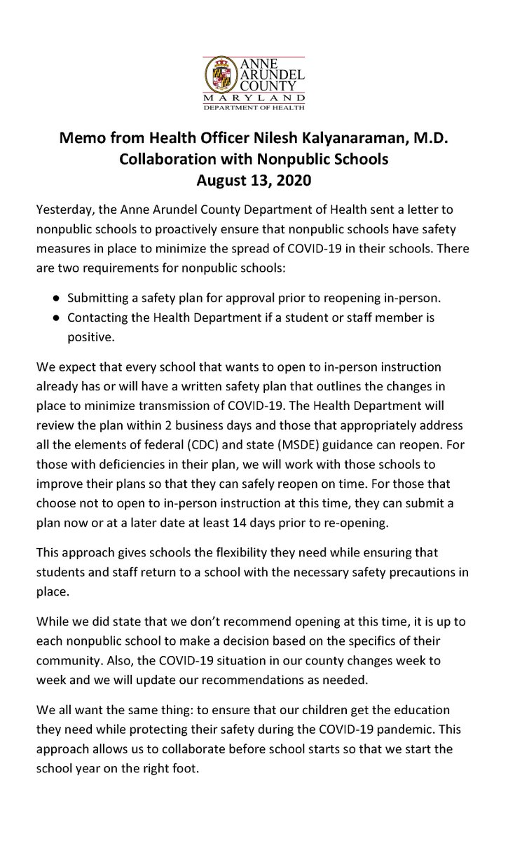 Yesterday #AnneArundel HealthDept sent a letter to nonpublic schools that want to open in-person. @AAHealth  expects that every school that plans to open already has or will have a written #COVID19 #SafetyPlan in place. Read details: