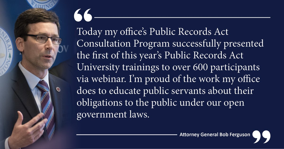 AG Ferguson's statement on today's online Public Records Act University program conducted by  our office's PRA Consultation Program