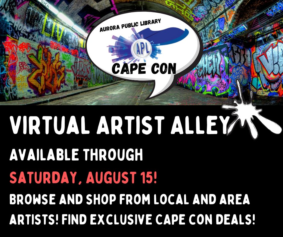 Check out our Virtual Artist Alley, available all week of CAPE Con! Find digital comics, online shops and EXCLUSIVE discounts TO ALL CAPE CON VISITORS!     #APLibraryIL #YourLibraryAtHome