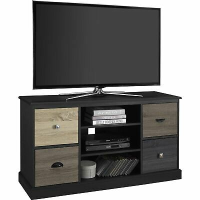 Black Wooden TV Stand Console Entertainment Center Media Storage Cabinet Home...