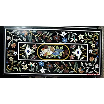 Handmade Black Dining Table Top Marquetry Art Inlaid Floral Design can be...