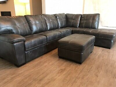 Large 2 Piece Sectional Sofa Couch Ottoman Slate Gray USED...