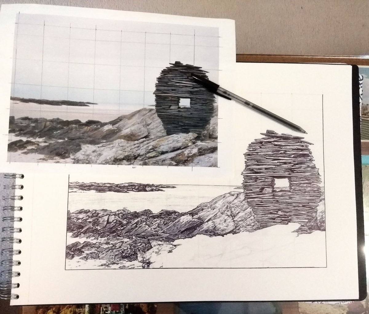 test Twitter Media - Sentinel. A rock sculpture on Colonsay. Ballpoint on paper. Unfinished. #ballpointpendrawing https://t.co/SBt3aa379N