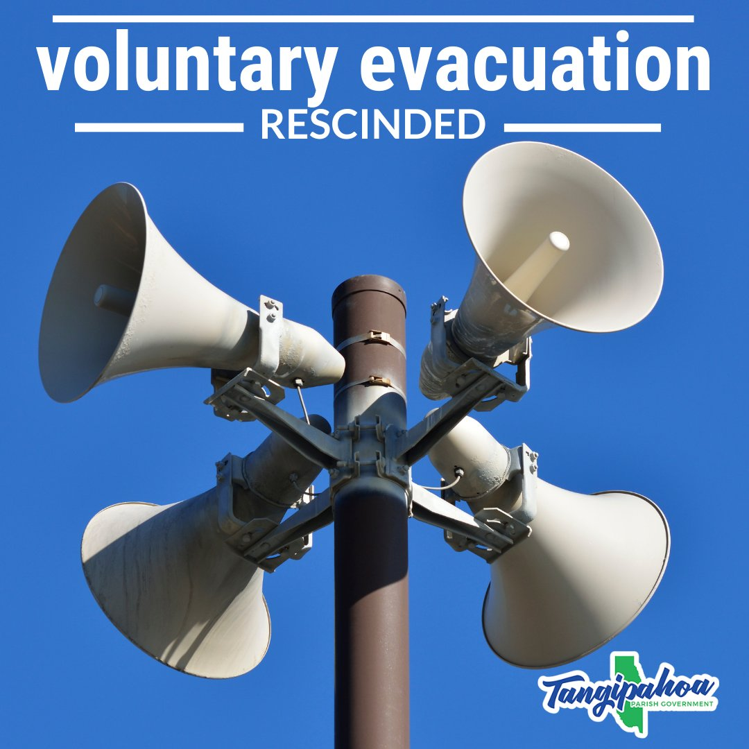 As a result of the recent 10am update from the National Weather Service, Parish President Robby Miller is rescinding the voluntary evacuation for #HurricaneSally for lower Tangipahoa Parish.
