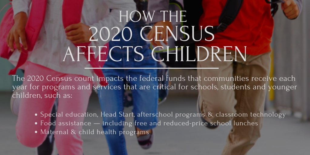 The 2020 Census count impacts the federal funds that are important to a community's children. To take the 2020 Census, go to