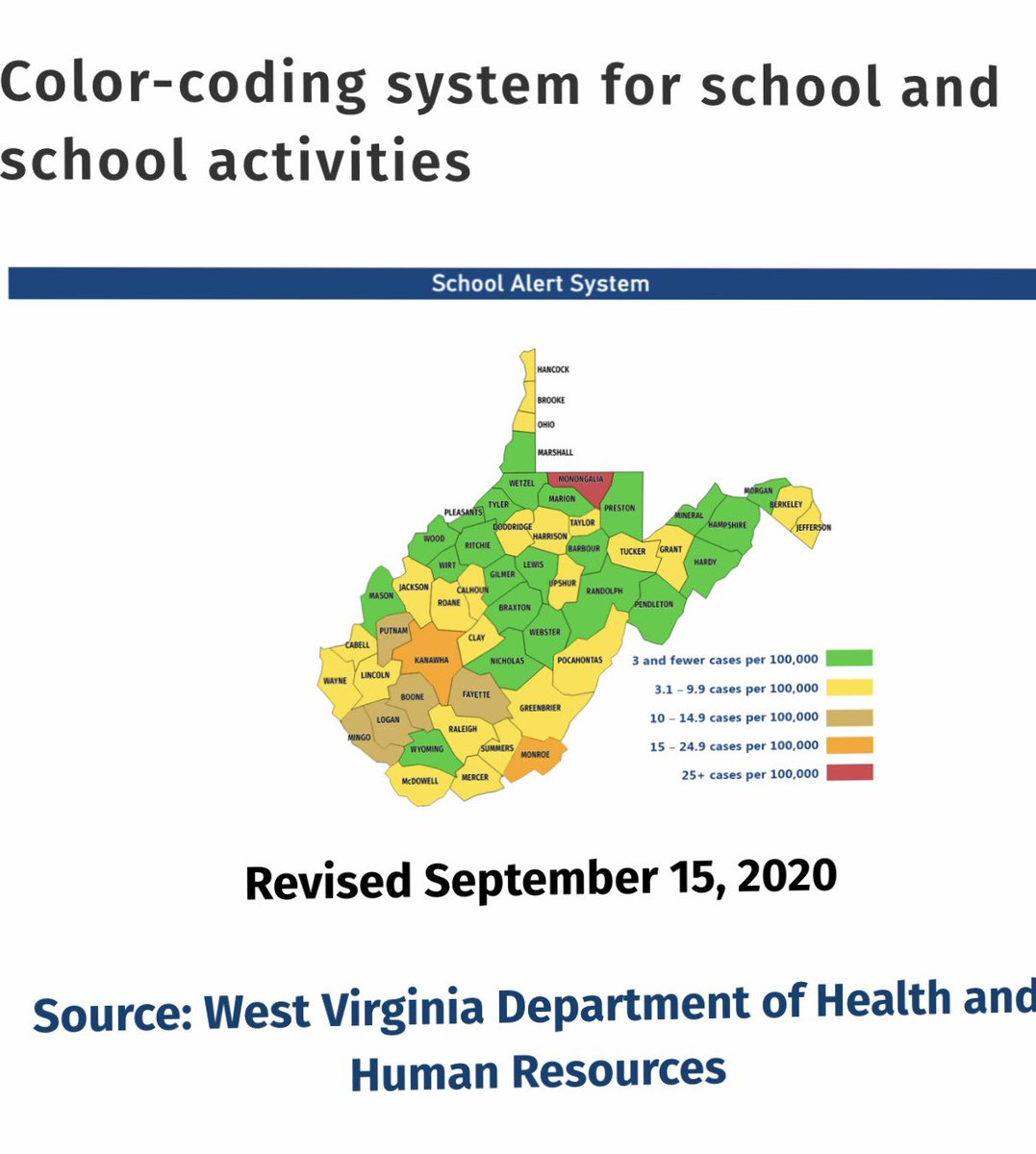 "✏️🍎Boone County Schools will continue with ""Remote Learning"" for ALL students for the remainder of the week (September 16th-18th). The WVDE Color-Coding Map to be released on Saturday will determine our instructional & athletic schedule for the week beginning September 21st.📚🖍"