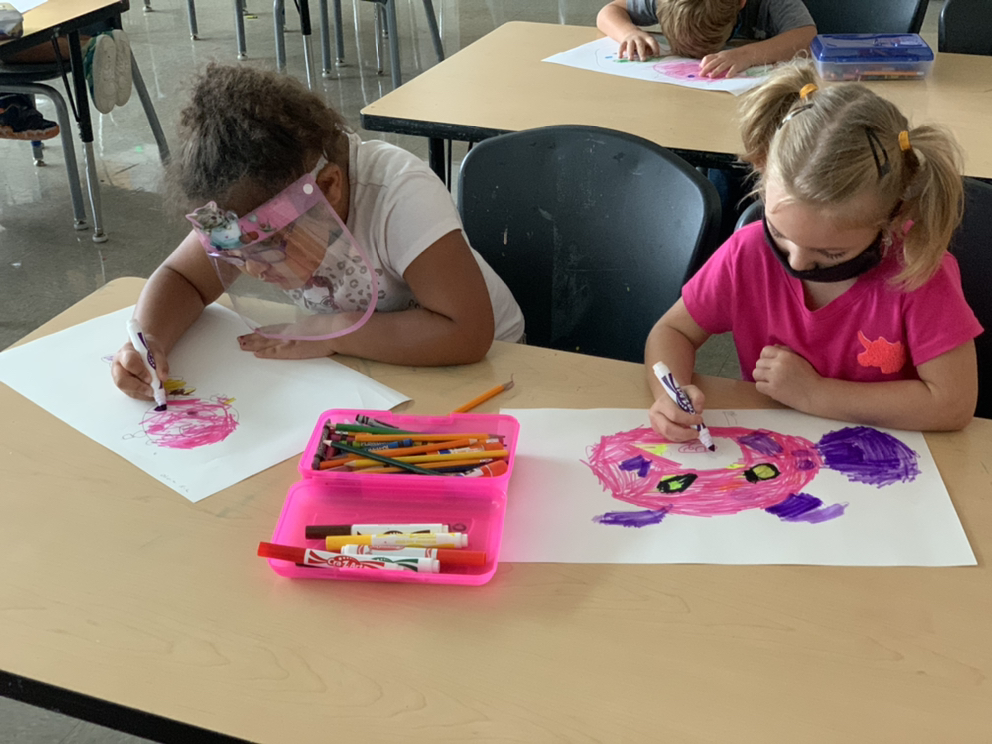 Kinder artists at Neblett learned about colors and created 'Palette Pigs'. #BuildingBearcats