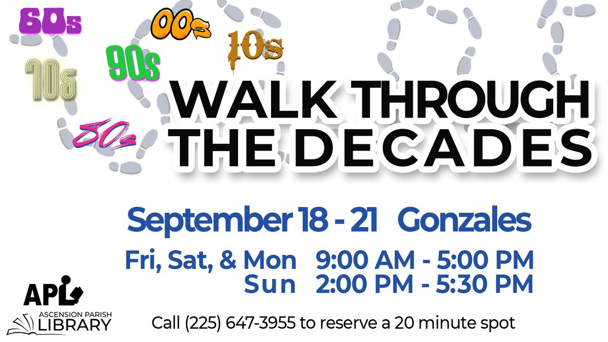 Get a taste of what the decades have to offer at our Walk Through The Decades event! Walkthrough this interactive experience to learn all about popular candy, toys, music, and culture from 1960-2020 to celebrate the library's 60th anniversary! Call (225) 647-3955 to register