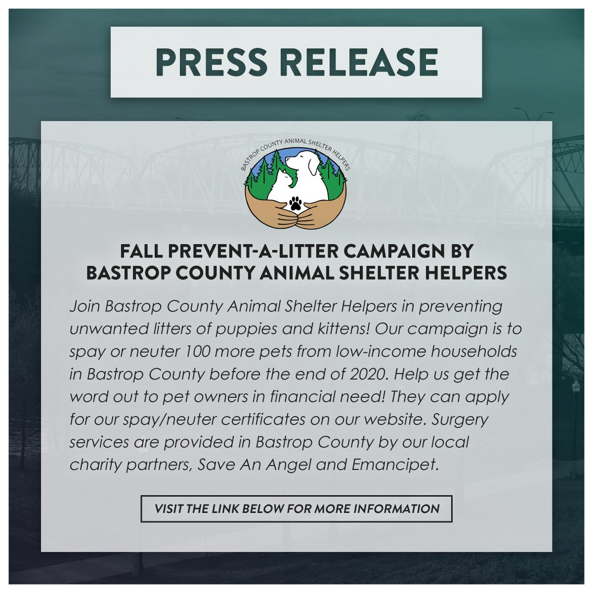 Press Release from the Bastrop County Animal Shelter Helpers! Visit the link below for more information!