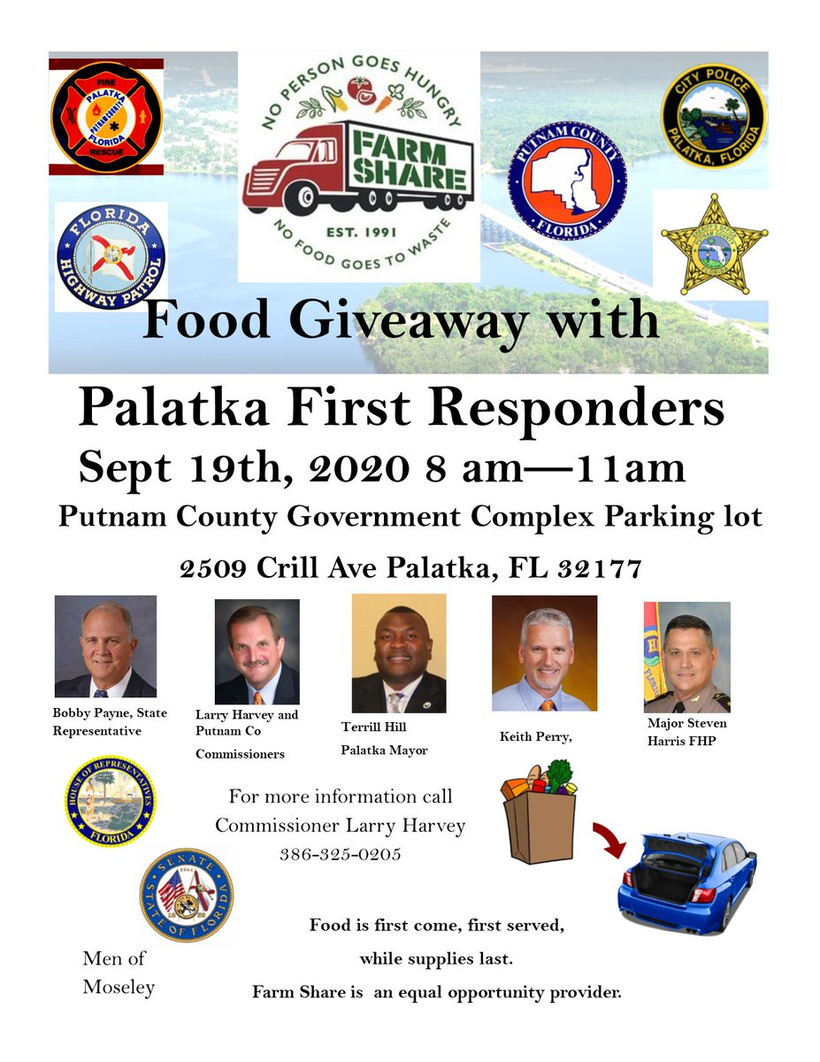 Come on out to the Farm Share Food Giveaway with First Responders at the Putnam County Government Complex located at 2509 Crill Avenue in Palatka.  The event is scheduled for Saturday, Sept. 19, from 8am to 11am.