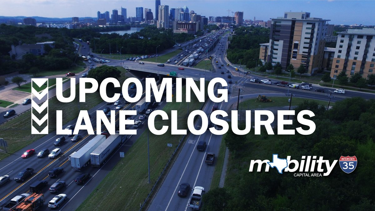 TRAFFIC ALERT: #My35 lane closures 9/12-9/18 include I-35 mainlane & frontage road closures at Northwest Boulevard, US 183 and Stassney Lane. Click here for a full closure list:  #ATXtraffic