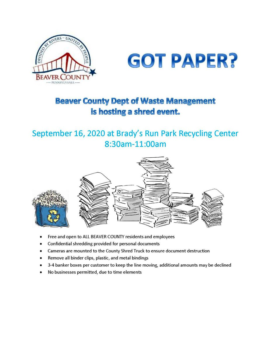 All Beaver County residents and employees can shred their paper at the Brady's Run Park Recycling Center for FREE on September 16 from 8:30-11:00am.  Please limit the quantity to 3-4 banker boxes per person. No businesses are permitted. #beavercounty #papershredding #recycling