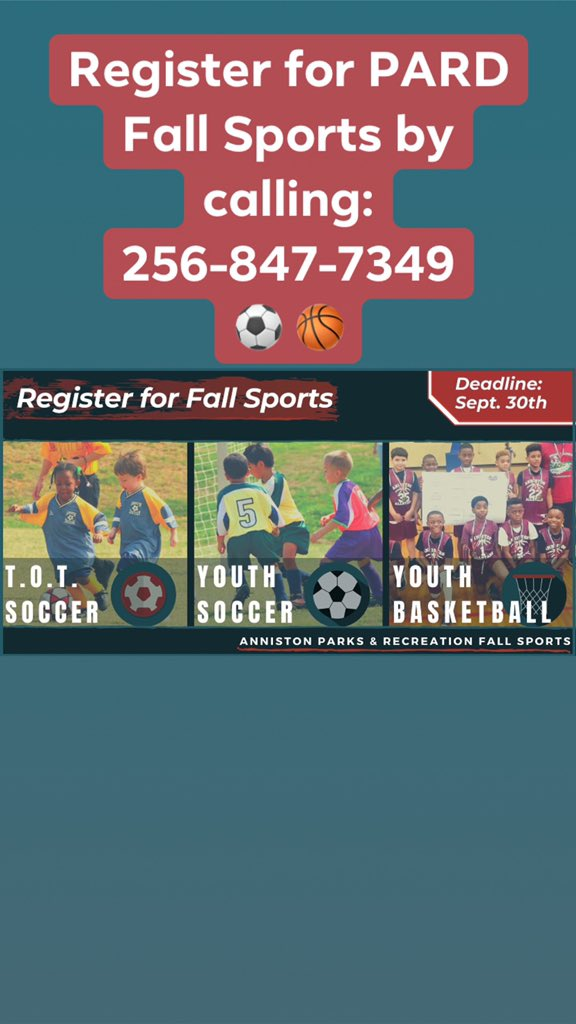 The City of #Anniston is excited to kick-off its Fall Parks and Recreation Youth #Sports! Be sure to sign your little one up for a fun #Fall of T.O.T. Soccer, Youth Soccer, or Youth Basketball! The #Deadline to sign-up is September 30th!  ⚽️ 🏀
