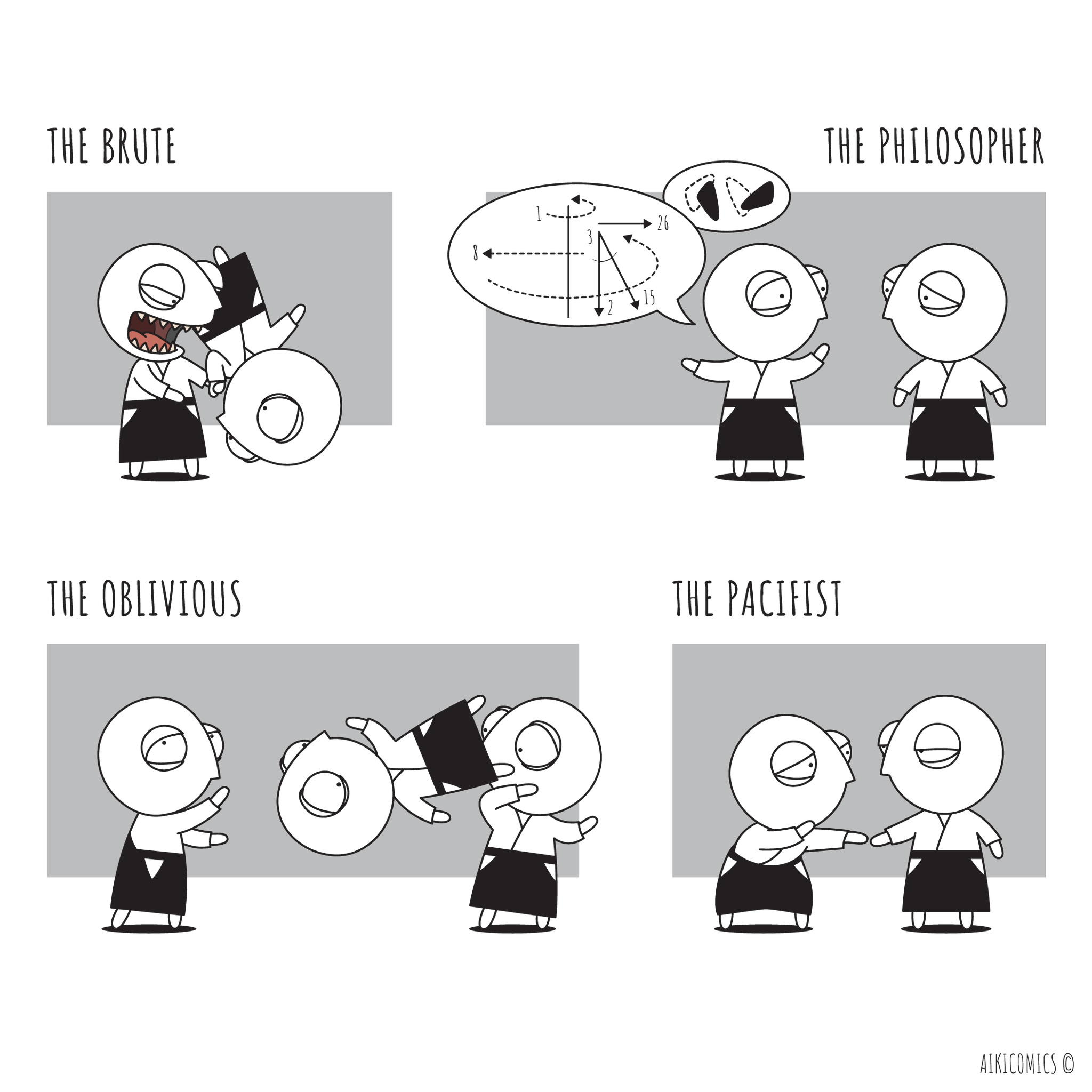 Nage types... Meet the brute, the philosopher, the oblivious and the pacifist.  #aikido #martialarts #comics #cartoon #humor #oritshilon #aikicomics #selfdefense https://t.co/iiFpYlH85q