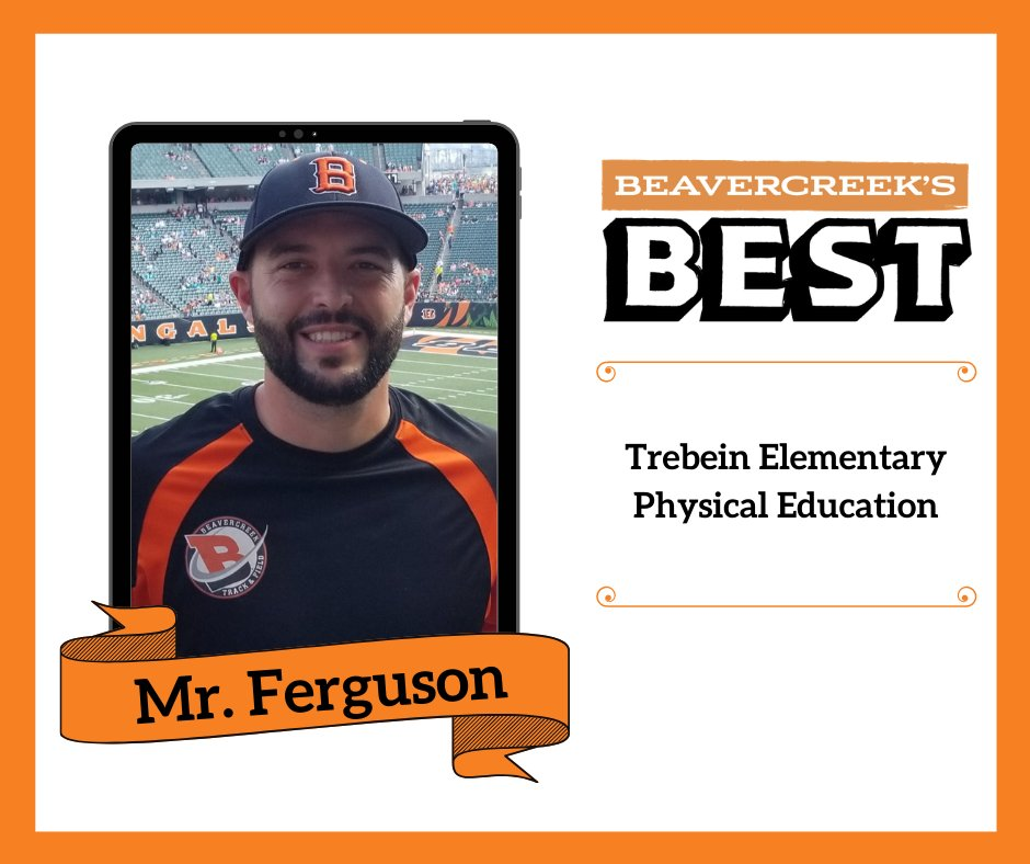 Today, we get to know 𝑩𝒆𝒂𝒗𝒆𝒓𝒄𝒓𝒆𝒆𝒌'𝒔 𝑩𝒆𝒔𝒕, Mr. Ferguson, a physical education teacher at Trebein Elementary. Visit our Facebook page to learn more about him! #BcreekSchools