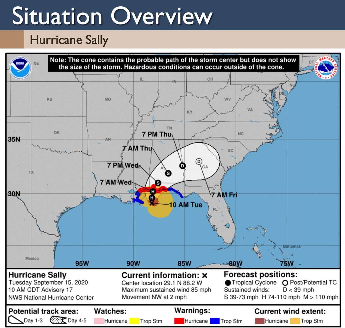 #HurricaneSally 10am Update: 🌀Sally has become slightly weaker 🌀All SELA is no longer in a Hurricane Warning, but in a Tropical Storm Warning 🌀All of SELA is no longer in a Flash Flood Watch 🌀Landfall is still expected near the AL/MS state line