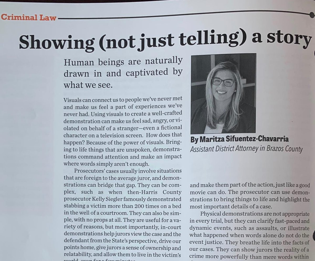 Last month, ADA Maritza Sifuentez-Chavarria wrote an article in The Texas Prosecutor about the power of in-court demonstrations. Maritza specifically told of her experience in helping jurors understand the methodical nature of forensic medical exams.