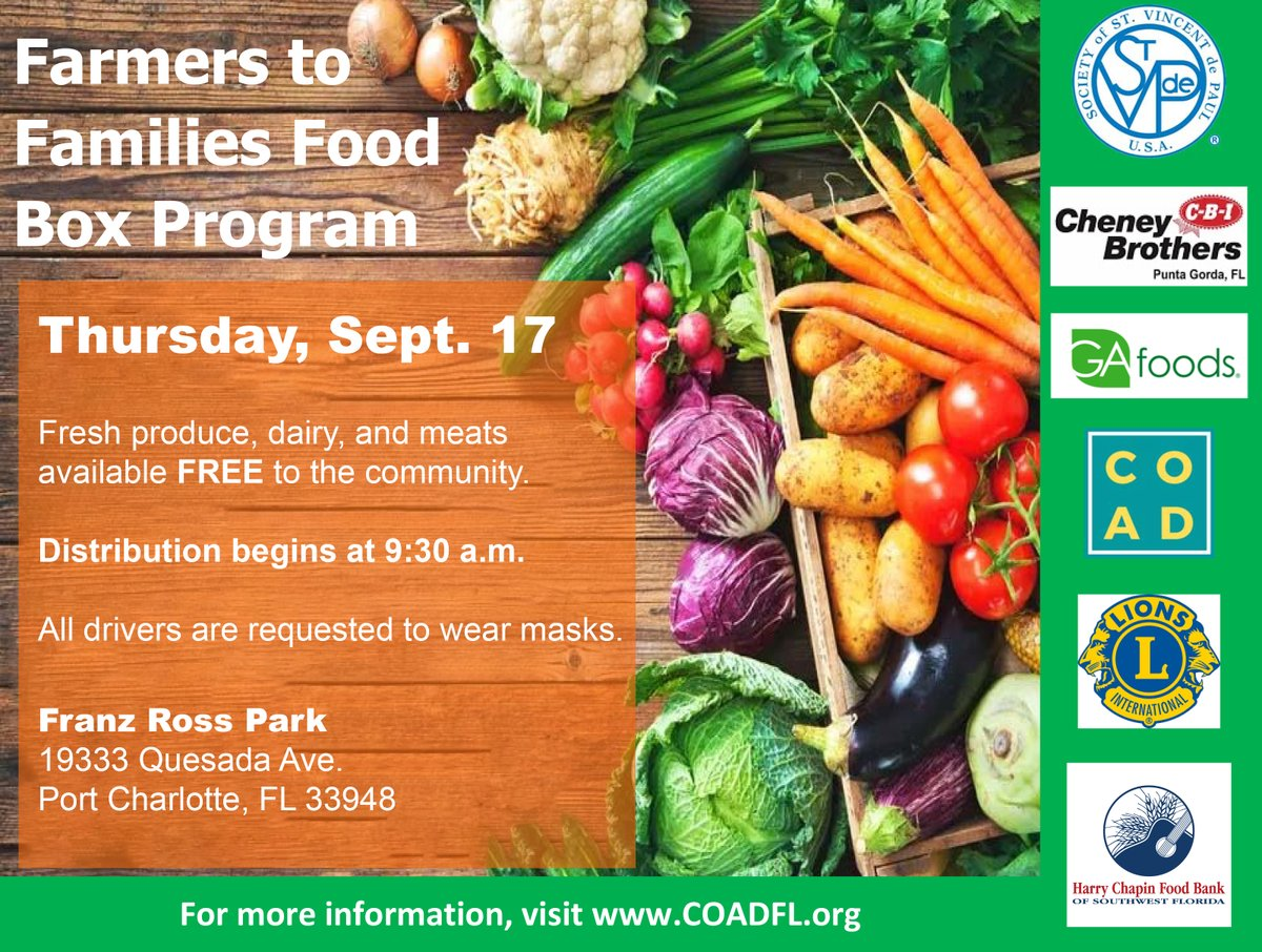 Farmers to Families Food Box program will be in Charlotte County 9:30 a.m., Sept. 17 at Franz Ross Park while supplies last.   Fresh produce, dairy, and meats will be available FREE to the community. All drivers are requested to wear masks.