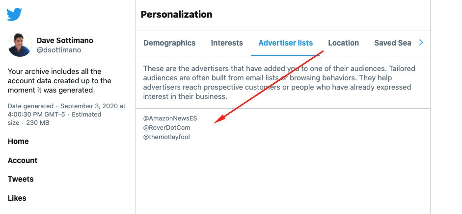 Exporting your Twitter archive is pretty neat, they give you an HTML file with a UI to browse your data, tell you what advertisers added you to their lists & what they think your interests are.  My export was 230mb, looking forward to doing some analysis.  cc @DataChaz https://t.co/1BQtMYM3nu