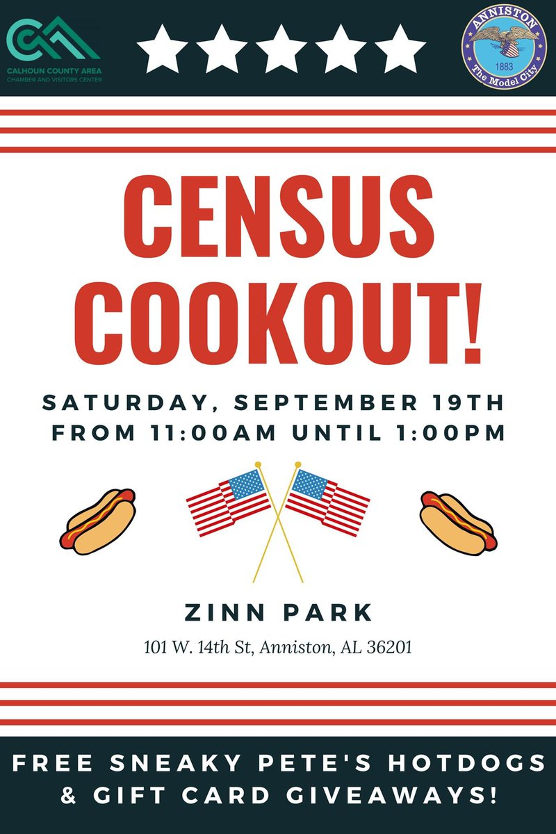 #PSA: Free Census Cookout - 09/19/20 🇺🇸 ____________________________  The City of Anniston has partnered with the Calhoun County Chamber of Commerce to host a Census #Cookout at Zinn Park on Saturday, September 19th, from 11:00am until 1:00pm!  #Anniston #Census2020