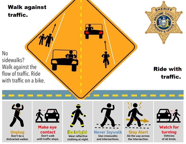 🔶🚶🏻🔶Pedestrians must always walk against traffic.  🚲 Cyclists must always ride with traffic, not against it.   🔶🚲🔶In NY, all bicyclists under the age of 14 years old are required to wear safety certified bicycle helmets when they are operators or passengers on bicycles.