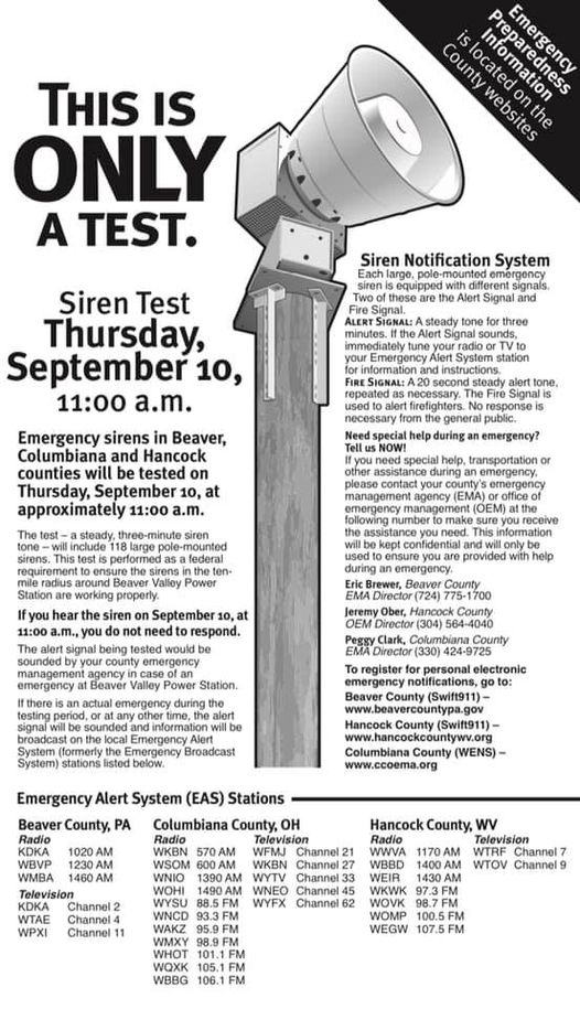 ***This is only a test*** The annual Siren Test in #BeaverCounty will be this Thursday, Sept 10 at 11am. We will also be testing the mass notification system (Swift911) if you are signed up for it.