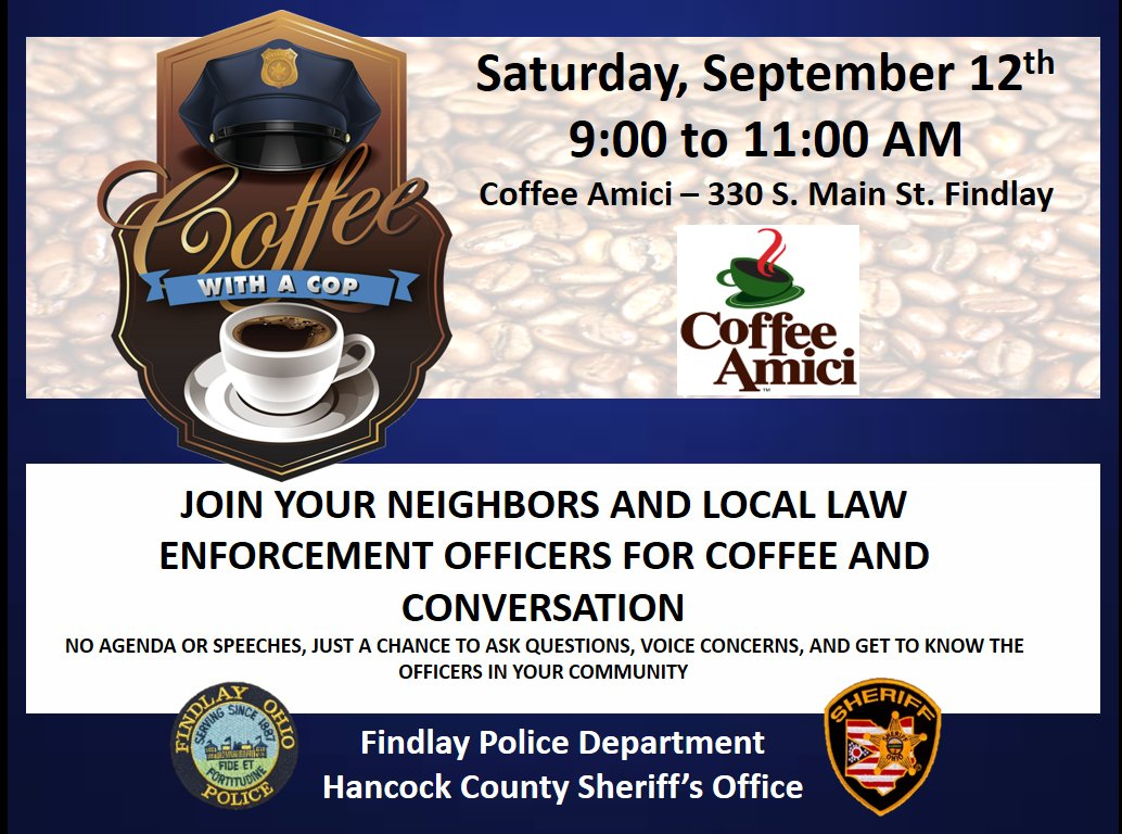 Join us this Saturday, September 12th at Coffee Amici for Coffee With A Cop. We'll be there from 9:00 - 11:00 AM.