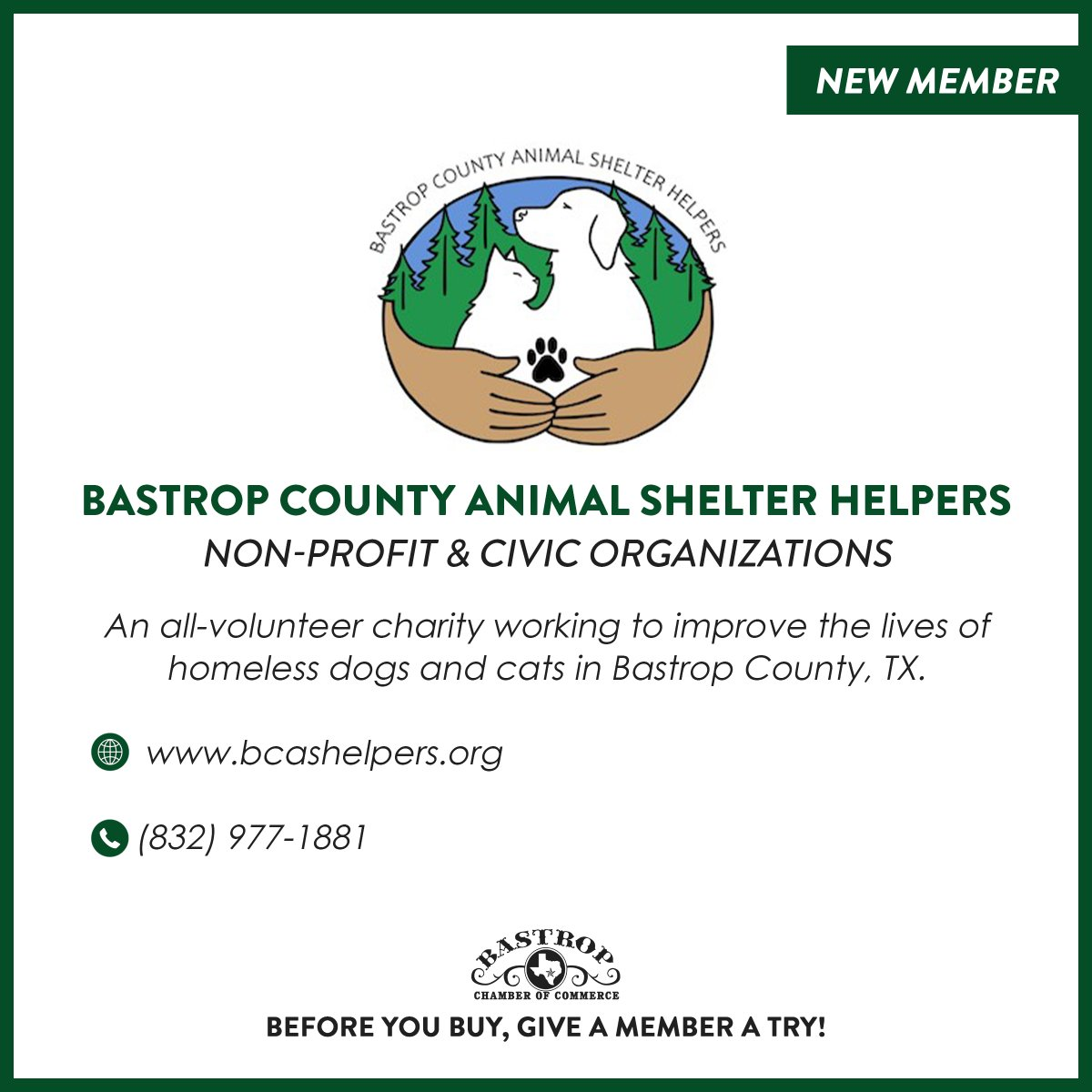 New member of the Bastrop Chamber of Commerce! Visit the website below to see how Bastrop County Animal Shelter Helpers are bringing the community together to better the lives of animals, in partnership with the Bastrop County Animal Shelter.