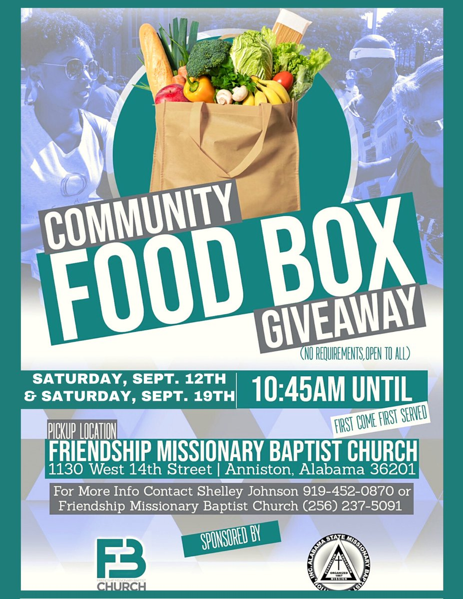 #PSA: Free Food Box Giveaway 🍎  ____________________________________  There will be a #Free community #Food Box giveaway at the Friendship Missionary Baptist Church (1130 W. 14th St, #Anniston, AL 36201) this Saturday (09/12/20), as well as next Saturday (09/19/20)!