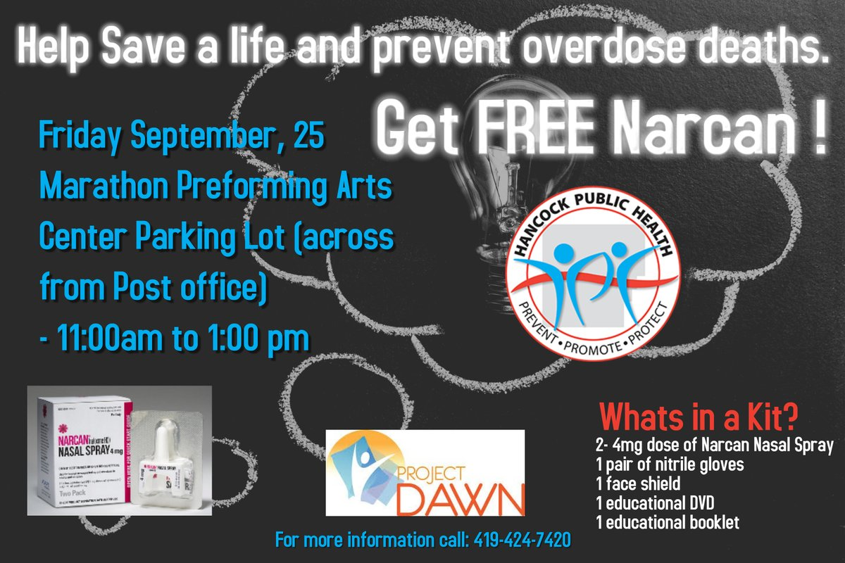 Help save a life and prevent overdose deaths. Get FREE Narcan. Friday September 25, 2020 11A to 1P