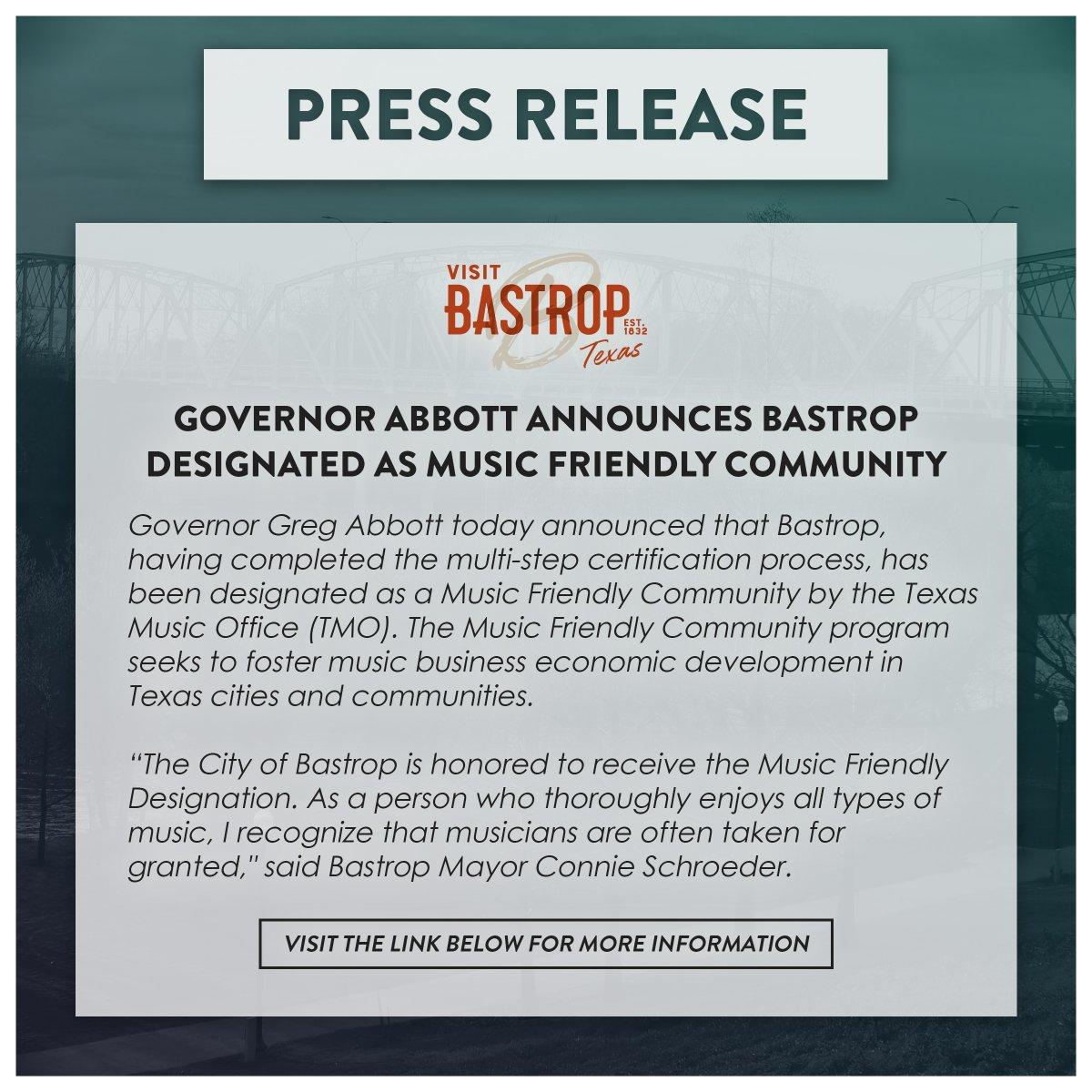 Press Release from Visit Bastrop! Visit the link below for more information!