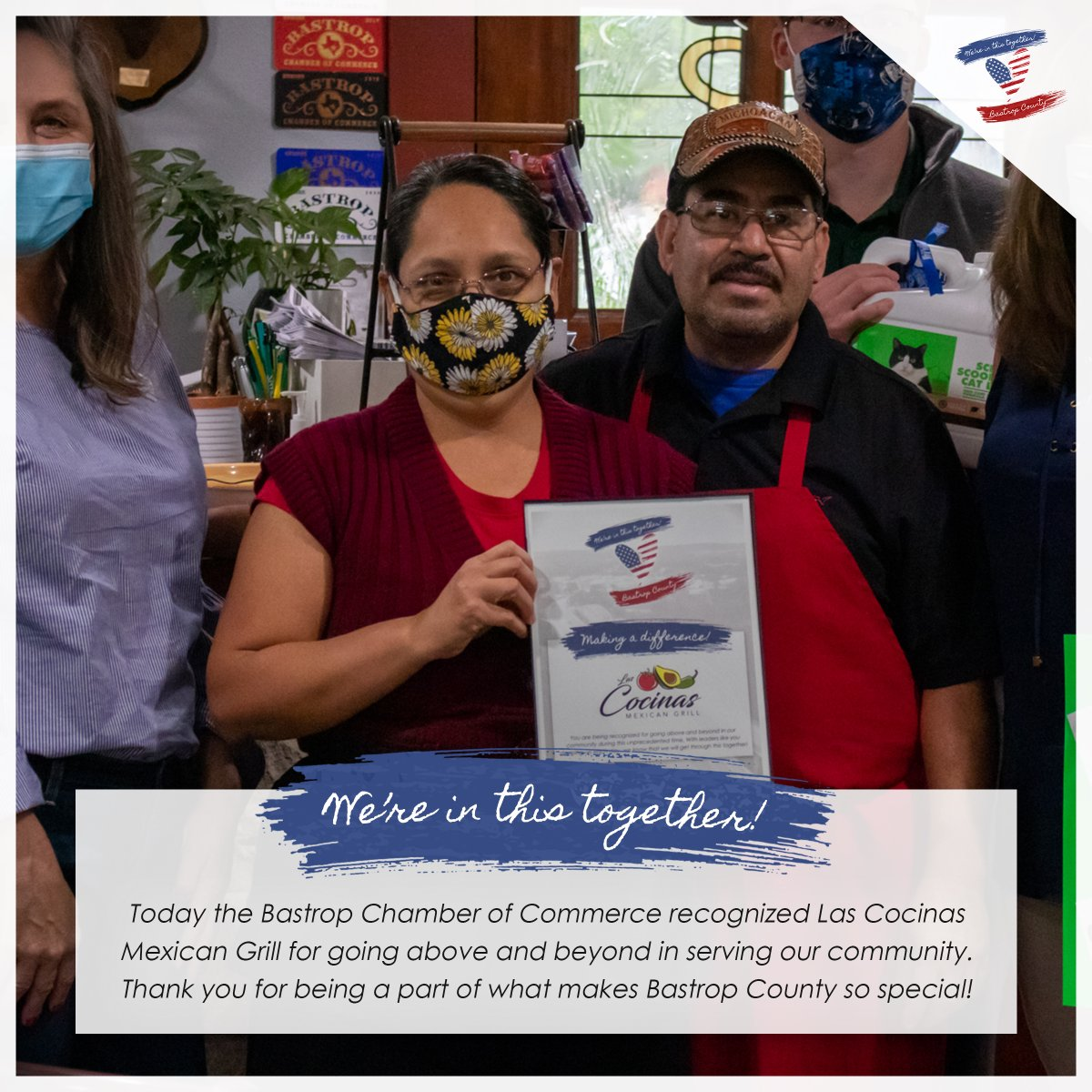 Today we recognized Las Cocinas for going above and beyond in serving our community. All through this pandemic they have continued to work hard and follow the CDC guidelines and continued to support the nonprofit charity, Bastrop County Animal Shelter Helpers.