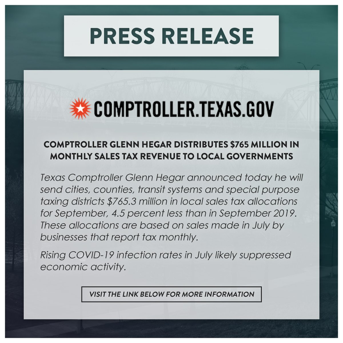Press Release from the Texas Comptroller of Public Accounts! Visit the link below for more information!