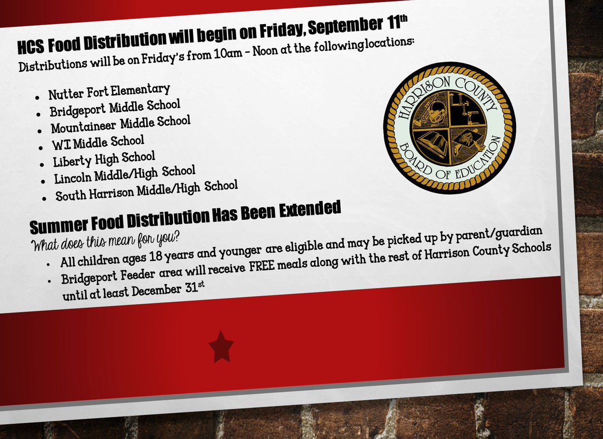FOOD DISTRIBUTION INFORMATION: Food distribution occurs each Friday, starting tomorrow, September 11th from 10am until Noon at the following locations: Nutter Fort Elementary Bridgeport Middle Mountaineer Middle WI Middle Liberty  Lincoln Middle/High South Harrison Middle/High
