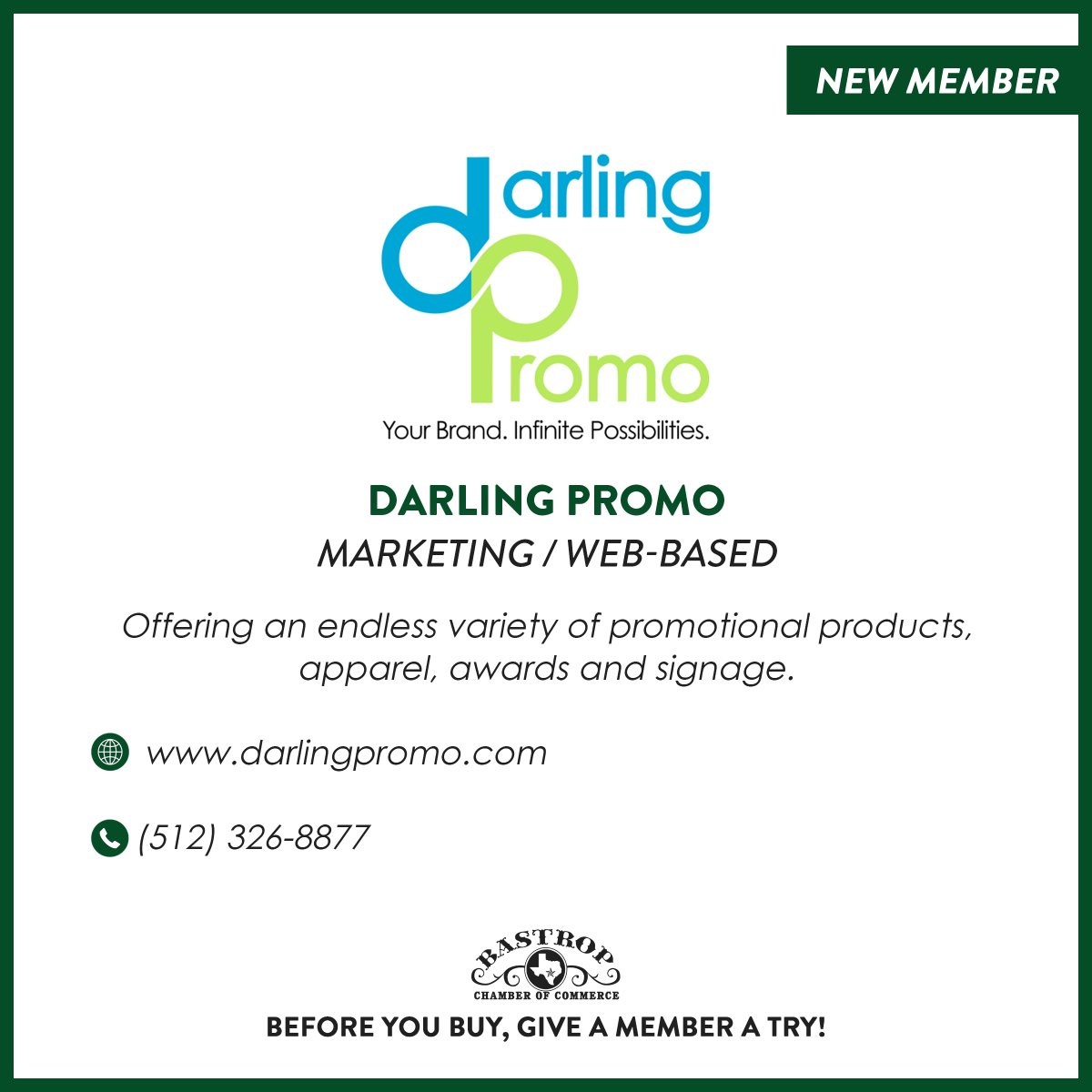 Join us in welcoming Darling Promo as the newest member of the Bastrop Chamber of Commerce! Visit their website below to see how they can help you find the perfect items to make your next event or promotion complete.