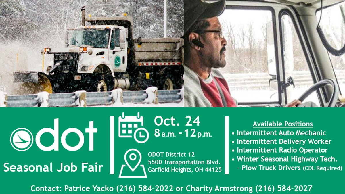 The ODOT Job Fair is scheduled for Saturday, October 24 from 8 a.m. to 12 p.m.   For more information about the available positions, visit