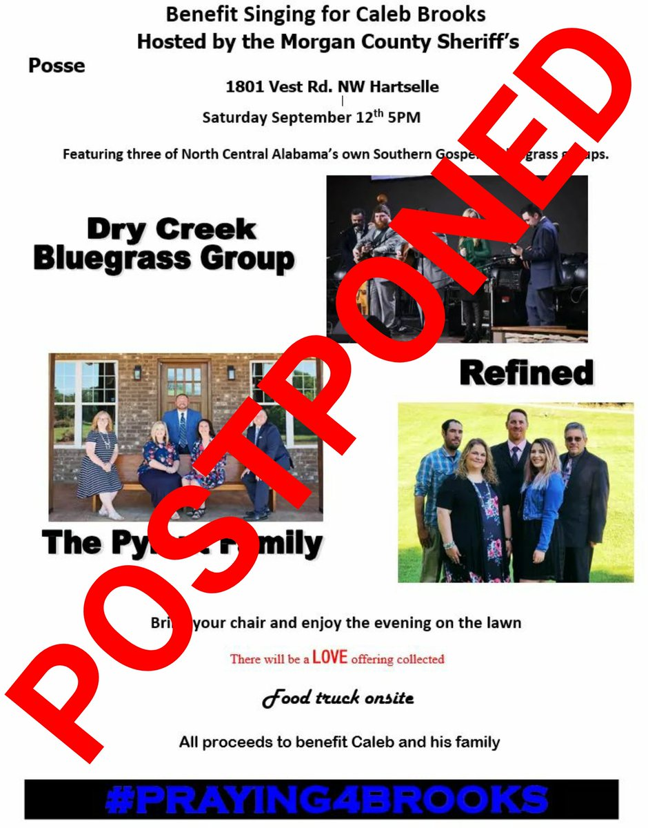 The Caleb Brooks Benefit Concert scheduled for tonight has been postponed. @waff48 @WAAYTV @whnt @rocketcitynow @hartselleenq @decaturdaily