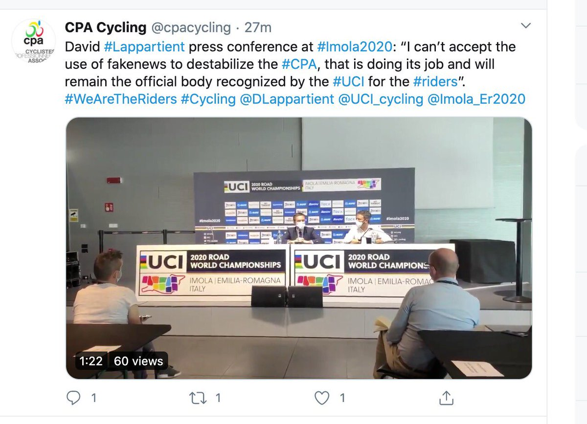 test Twitter Media - Dear Mr. President @UCI_cycling how reassuring it must be for all riders to know that you, in your great and unmatched wisdom, qualify the request for reform of the voting system within @cpacycling CPA of over 340 of them in order to give all riders equal influence as 'fake news' https://t.co/mpDqt4fE3k