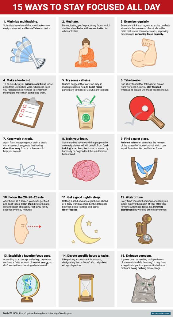 15 ways to stay focused all day:  Minimize multitasking  Meditate  Exercise regularly  Make a to-do list  Try some caffeine  Take breaks  Keep work at work  Train your brain  Find a quiet place  Follow the 20-20-20 rule  Get a good night's sleep  Work offline https://t.co/X06HC8sI6m