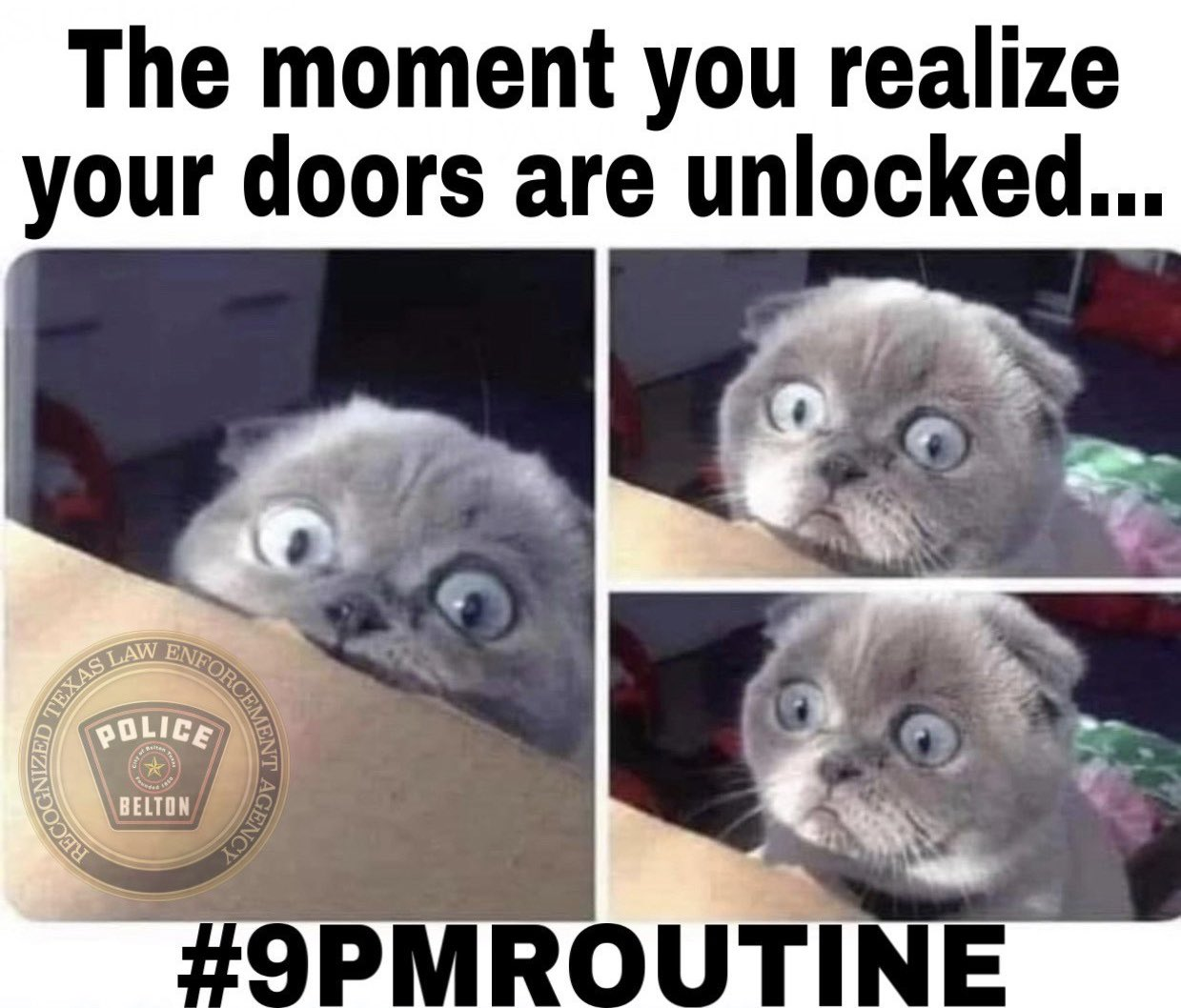 It's time to eliminate the opportunity for crime. Lock it up Belton. #9PMRoutine! https://t.co/sHiyHnVWlu